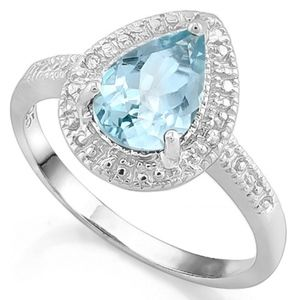Ring 1.60 Ct Blue Topaz & Diamond Sterling Silver